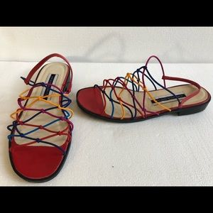 Amanda Smith multi colored stretch sandals shoes